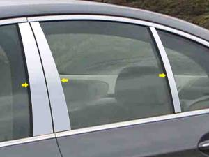 Chrome Trim - Pillar Trim - QAA - BMW 5 Series 2004-2010, 4-door, Sedan (6 piece Stainless Steel Pillar Post Trim ) PP25931 QAA