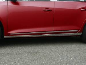 "Chrome Trim - Rocker Panel Trim - QAA - Buick LaCrosse 2010-2016, 4-door, Sedan (4 piece Stainless Steel Rocker Panel Trim, On the rocker 1.625"" - 3"" tapered Width Installs below the door.) TH50520 QAA"