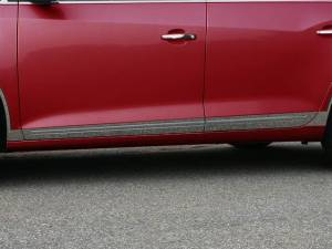 "Chrome Trim - Rocker Panel Trim - QAA - Buick LaCrosse 2010-2016, 4-door, Sedan (8 piece Stainless Steel Rocker Panel Trim, Lower Kit 2.375"" - 3 0.75"" tapered Width, with Cut Out for factory trim Spans from the bottom of the door UP to the specified width.) TH50521 QAA"