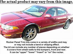 "Chrome Trim - Rocker Panel Trim - QAA - Buick LeSabre 2000-2005, 4-door, Sedan (8 piece Stainless Steel Rocker Panel Trim, Upper Kit 6"" Width Spans from the bottom of the molding DOWN to the specified width.) TH40566 QAA"