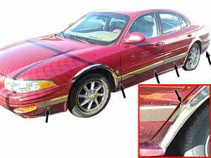 "Chrome Trim - Rocker Panel Trim - QAA - Buick LeSabre 2000-2005, 4-door, Sedan (12 piece Stainless Steel Rocker Panel Trim, Upper Kit 3.5"" Width Spans from the bottom of the molding DOWN to the specified width.) TH40567 QAA"