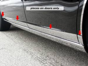 "Chrome Trim - Rocker Panel Trim - QAA - Buick Lucerne 2006-2011, 4-door, Sedan (8 piece Stainless Steel Rocker Panel Trim, Lower Kit 2"" - 2.5625"" tapered Width Spans from the bottom of the door UP to the specified width.) TH46551 QAA"