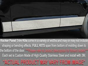 "Chrome Trim - Rocker Panel Trim - QAA - Buick Park Avenue 1995-1996, 4-door, Sedan (10 piece Stainless Steel Rocker Panel Trim, Full Kit 7"" - 7.5"" tapered Width, Full Length, Includes coverage from the wheel well to the bumper on the front and rear Spans from the bottom of the molding to the bo"