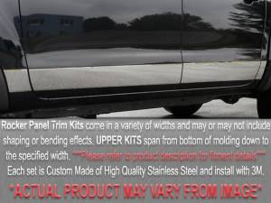 "Chrome Trim - Rocker Panel Trim - QAA - Buick Park Avenue 1997-2005, 4-door, Sedan (6 piece Stainless Steel Rocker Panel Trim, Upper Kit 3"" Width Spans from the bottom of the molding DOWN to the specified width.) TH37582 QAA"