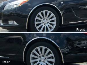 Chrome Trim - Wheel Well/Fender Trim - QAA - Buick Regal 2011-2013, 4-door, Sedan (4 piece Molded Stainless Steel Wheel Well Fender Trim Molding Clip on or screw in installation, Lock Tab and screws, hardware included.) WZ51575 QAA