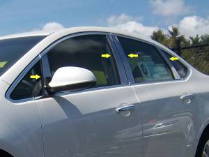 QAA - Buick Verano 2012-2017, 4-door, Sedan (8 piece Stainless Steel Pillar Post Trim Includes front front Pillar, behind the mirror, two pieces cover that front pillar section at the mirror, but is counted as one in the kit's piece count ) PP52542 QAA