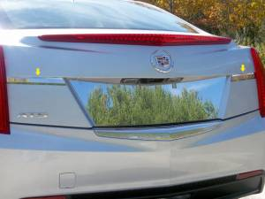 Chrome Trim - License Plate Accents - QAA - Cadillac ATS 2013-2018, 4-door, Sedan (2 piece Stainless Steel License Bar Extension Trim ) LB53235 QAA