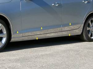 "Chrome Trim - Rocker Panel Trim - QAA - Cadillac ATS 2013-2018, 4-door, Sedan (10 piece Stainless Steel Rocker Panel Trim, On the rocker & Lower Kit 7.375"" Width Installs below the door AND Spans from the bottom of the door UP to the specified width.) TH53237 QAA"