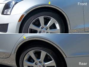 Chrome Trim - Wheel Well/Fender Trim - QAA - Cadillac ATS 2013-2018, 4-door, Sedan (4 piece Stainless Steel Wheel Well Accent Trim cut to fit with Rocker kit sold separately With 3M adhesive installation and black rubber gasket edging.) WQ53235 QAA