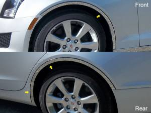 Chrome Trim - Wheel Well/Fender Trim - QAA - Cadillac ATS 2013-2018, 4-door, Sedan (6 piece Stainless Steel Wheel Well Accent Trim full length With 3M adhesive installation and black rubber gasket edging.) WQ53236 QAA