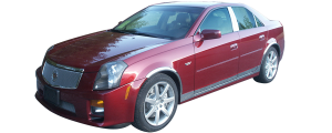 "QAA - Cadillac CTS 2003-2007, 4-door, Sedan (8 piece Stainless Steel Rocker Panel Trim, On the rocker & Lower Kit 5.25"" - 5.5"" tapered Width Installs below the door AND Spans from the bottom of the door UP to the specified width.) TH43250 QAA - Image 2"
