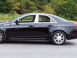 "Chrome Trim - More Trim Options - QAA - Cadillac CTS 2008-2013, 4-door, Sedan (14 piece Stainless Steel Body Side Molding Accent Trim Arrow - 1"" wide Kit includes six pieces on the driver's side.The passenger side includes two extra pieces - on the Gas Door and to the rear of the Gas Door.) AT4"