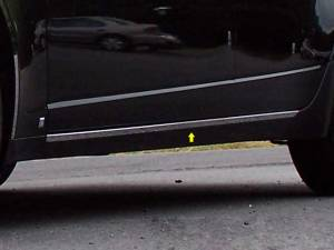 "Chrome Trim - Rocker Panel Trim - QAA - Cadillac CTS 2008-2013, 4-door, Sedan (2 piece Stainless Steel Rocker Panel Trim, On the rocker 1"" Width Installs below the door.) TH48250 QAA"