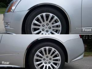 "Chrome Trim - Wheel Well/Fender Trim - QAA - Cadillac CTS Coupe 2011-2014, 2-door, Coupe (6 piece Stainless Steel Wheel Well Accent Trim 0.87"" Width With 3M adhesive installation and black rubber gasket edging.) WQ50254 QAA"