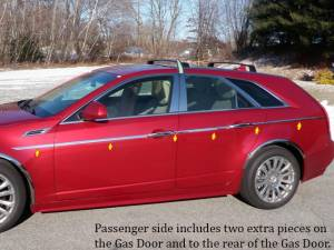 "Chrome Trim - More Trim Options - QAA - Cadillac CTS Sport Wagon 2010-2014, 4-door, Sport Wagon (14 piece Stainless Steel Body Side Molding Accent Trim Straight - 1"" wide Kit includes six pieces on the driver's side.The passenger side includes two extra pieces - on the Gas Door and to the rear"