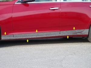 "Chrome Trim - Rocker Panel Trim - QAA - Cadillac CTS 2014-2019, 4-door, Sedan (10 piece Stainless Steel Rocker Panel Trim, On the rocker & Lower Kit 5.25"" Width Installs below the door AND Spans from the bottom of the door UP to the specified width.) TH54252 QAA"