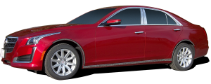 QAA - Cadillac CTS 2014-2019, 4-door, Sedan (4 piece Stainless Steel Window Trim Package Includes Upper Trim only, NO Pillar Posts, NO window sills, with gap for extended style center Pillars - not included. ) WP54445 QAA - Image 2
