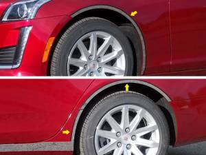 Chrome Trim - Wheel Well/Fender Trim - QAA - Cadillac CTS 2014-2019, 4-door, Sedan (6 piece Stainless Steel Wheel Well Accent Trim cut to fit with the Rocker kit TH54251 ON the Rocker sold separately With 3M adhesive installation and black rubber gasket edging.) WQ54251 QAA