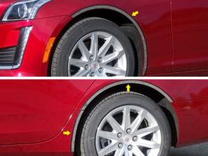 Chrome Trim - Wheel Well/Fender Trim - QAA - Cadillac CTS 2014-2019, 4-door, Sedan (6 piece Stainless Steel Wheel Well Accent Trim full length With 3M adhesive installation and black rubber gasket edging.) WQ54252 QAA