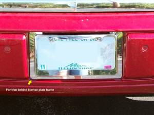 Chrome Trim - License Plate Accents - QAA - Cadillac DTS 2006-2011, 4-door, Sedan (1 piece Stainless Steel License Plate Bezel ) LP46245 QAA