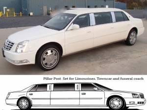 QAA - Cadillac DTS 2006-2011, 6-door, S&S Limousine (8 piece Stainless Steel Pillar Post Trim ) PP40248 QAA - Image 1