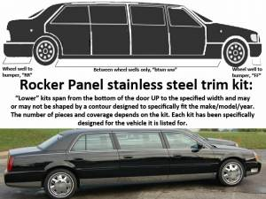 """QAA - Cadillac DTS 2006-2011, Limousine, 99 5/8"""" Stretch (12 piece Stainless Steel Rocker Panel Trim, Lower Kit 4.5"""" Width, 99.625"""" Between the wheel wells Spans from the bottom of the door UP to the specified width.) TH40237 QAA - Image 1"""