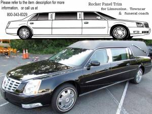 "QAA - Cadillac DTS 2006-2011, S&S Hearse (4 piece Stainless Steel Rocker Panel Trim, On the rocker 2.5"" Width Installs below the door.) TH40254 QAA - Image 1"