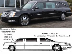 """QAA - Cadillac DTS 2006-2011, Eagle Hearse (12 piece Stainless Steel Rocker Panel Trim, Lower Kit 4.5"""" Width, Full Length, Includes coverage from the wheel well to the bumper on the front and rear Spans from the bottom of the door UP to the specified width.) TH"""