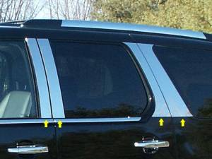 QAA - Cadillac Escalade 2007-2014, 4-door, SUV, Does NOT fit EXT OR ESV (8 piece Stainless Steel Pillar Post Trim ) PP47257 QAA - Image 1
