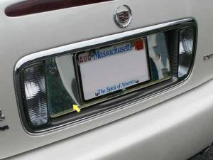 Chrome Trim - License Plate Accents - QAA - Cadillac DeVille 2000-2005, 4-door, Sedan (1 piece Stainless Steel License Plate Bezel ) LP40245 QAA