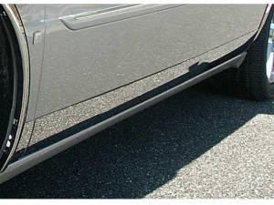 """QAA - Cadillac DeVille 2000-2005, 4-door, Sedan (12 piece Stainless Steel Rocker Panel Trim, Lower Kit 4.5"""" Width, Full Length, Includes coverage from the wheel well to the bumper on the front and rear Spans from the bottom of the door UP to the specified width"""