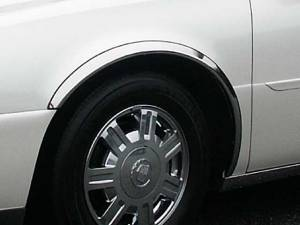 "Chrome Trim - Wheel Well/Fender Trim - QAA - Cadillac DeVille 2000-2005, 4-door, Sedan (4 piece Molded Stainless Steel Wheel Well Fender Trim Molding 2"" Width Clip on or screw in installation, Lock Tab and screws, hardware included.) WZ40245 QAA"