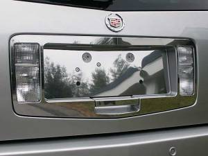 Chrome Trim - License Plate Accents - QAA - Cadillac SRX 2004-2009, 4-door, SUV (3 piece Stainless Steel License Plate Surround Trim ) LPS44260 QAA