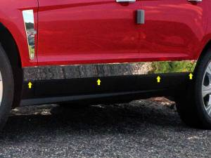 """QAA - Cadillac SRX 2010-2016, 4-door, SUV (8 piece Stainless Steel Rocker Panel Trim, Lower Kit 3.5"""" - 3 0.75"""" tapered Width Spans from the bottom of the door UP to the specified width.) TH50260 QAA - Image 1"""
