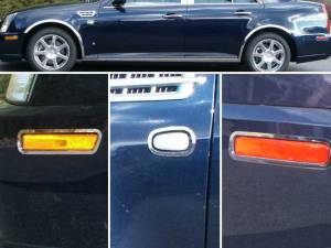 Chrome Trim - More Trim Options - QAA - Cadillac STS 2005-2008, 4-door, Sedan (6 piece Stainless Steel Accent Trim Marker Light Surround rings, Front, Rear and Center ) ML45236 QAA