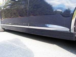 "QAA - Cadillac STS 2005-2011, 4-door, Sedan (6 piece Stainless Steel Rocker Panel Trim, Lower Kit 1.125"" Width, On the bottom of the doors Spans from the bottom of the door UP to the specified width.) TH45237 QAA - Image 1"