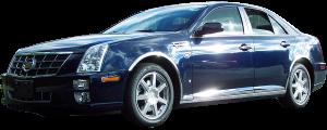 "QAA - Cadillac STS 2005-2011, 4-door, Sedan (4 piece Molded Stainless Steel Wheel Well Fender Trim Molding 1.75"" Width Clip on or screw in installation, Lock Tab and screws, hardware included.) WZ45236 QAA - Image 2"