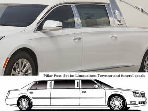 QAA - Cadillac XTS 2013-2019, Federal Heritage Hearse (6 piece Stainless Steel Pillar Post Trim ) PP53237 QAA - Image 1