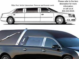 QAA - Cadillac XTS 2013-2019, Federal Hearse (4 piece Stainless Steel Pillar Post Trim ) PP53243 QAA - Image 1