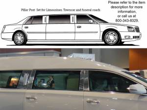 QAA - Cadillac XTS 2013-2019, Eagle Hearse (6 piece Stainless Steel Pillar Post Trim ) PP53249 QAA - Image 1