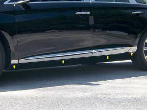 "QAA - Cadillac XTS 2013-2019, 4-door, Sedan (8 piece Stainless Steel Rocker Panel Trim, Lower Kit 2"" - 3.375"" tapered Width Spans from the bottom of the door UP to the specified width.) TH53245 QAA - Image 1"