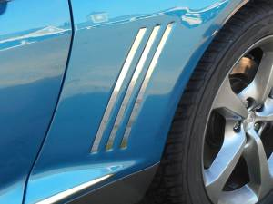 "Chrome Trim - Vent Accents - QAA - Chevrolet Camaro 2010-2015, 2-door, Coupe, Convertible (6 piece Stainless Steel Side Vent Trim ""Shark Fin"" style ) SV50100 QAA"