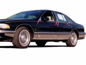 QAA - Chevrolet Caprice 1991-1997, 4-door, Sedan (8 piece Stainless Steel Pillar Post Trim Includes rear/rear post and front/front triangle ) PP33175 QAA - Image 1