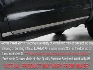 """QAA - Chevrolet Cruze 2011-2015, 4-door, Sedan (4 piece Stainless Steel Rocker Panel Trim, Lower Kit 1"""" - 1.5"""" tapered Width On the doors Only, spans from the bottom of the door UP to the specified width.) TH51145 QAA - Image 1"""