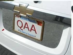Chrome Trim - License Plate Accents - QAA - Chevrolet Equinox 2005-2009, 4-door, SUV (1 piece Stainless Steel License Plate Bezel ) LP45160 QAA
