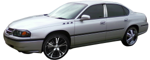 """QAA - Chevrolet Impala 2000-2005, 4-door, Sedan (8 piece Stainless Steel Rocker Panel Trim, Upper Kit 3.5"""" Width Spans from the bottom of the molding DOWN to the specified width.) TH40135 QAA - Image 2"""