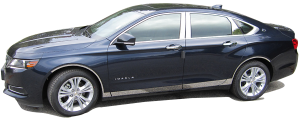 """QAA - Chevrolet Impala 2014-2020, 4-door, Sedan, Does NOT fit the Limited (4 piece Stainless Steel Wheel Well Accent Trim 0.875"""" Width, cut to fit with Rocker kit sold separately With 3M adhesive installation and black rubber gasket edging.) WQ54135 QAA - Image 2"""