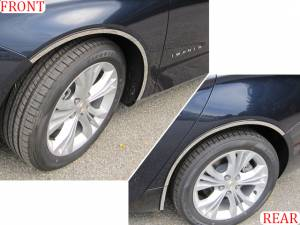 "Chrome Trim - Wheel Well/Fender Trim - QAA - Chevrolet Impala 2014-2020, 4-door, Sedan, Does NOT fit the Limited (6 piece Stainless Steel Wheel Well Accent Trim 0.875"" Width, full length, rear trim pieces are segmented into two With 3M adhesive installation and black rubber gasket edging.) WQ54136 Q"