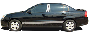 "QAA - Chevrolet Malibu 2004-2007, 4-door, Sedan (8 piece Stainless Steel Rocker Panel Trim, Lower Kit 3.625"" Width Spans from the bottom of the door UP to the specified width.) TH44106 QAA - Image 2"