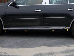 """QAA - Chevrolet Malibu 2013-2015, 4-door, Sedan (8 piece Stainless Steel Rocker Panel Trim, Lower Kit 1.375"""" - 2.125"""" tapered Width Spans from the bottom of the door UP to the specified width.) TH53105 QAA - Image 1"""
